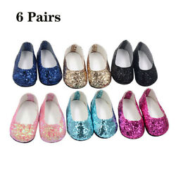 Kyпить 6Pairs Modern Doll Shoes Sparkle Sequined Shoes For 18 inch American Girl Doll на еВаy.соm