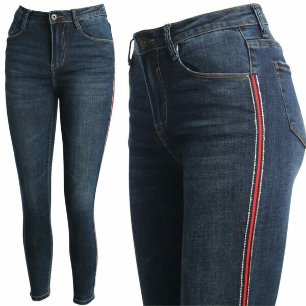 AllemagneFemmes Jeans Skinny Pantalon Haut Taille Rayures s Slim Fit Stretch