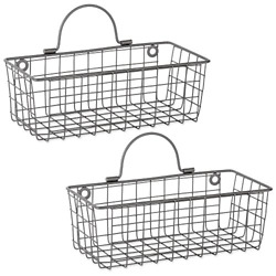 DII Z02021 Rustic Farmhouse Vintage Wire Wall Basket Set of 2, Small, Gray