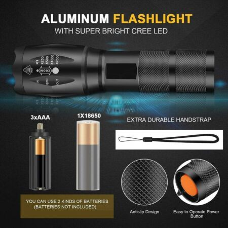 img-XML-T6 Tactical High Zoom LED Flashlight military police navy seal 2000 Lumen Lm