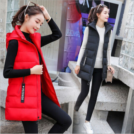 img-UK Womens Down Vest Quilted Jacket Sleeveless Hooded Coat Winter Long Waistcoat