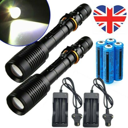 img-2Pcs 990000Lumen Police Military Flashlight Zoomable LED Torch Lamp+Battery Set