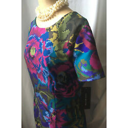 David Meister Fractured Floral Sheath Short Sleeve Teal Multi Dress size 16 NWT!