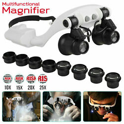 Kyпить Headband Head Magnifier 8 Lens LED Light Jeweler Watch Loupe Magnifying Glasses на еВаy.соm
