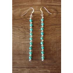 Navajo Indian Hand Beaded Turquoise and Silver Bead Earrings by D. Jake