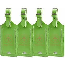 4 NEW Gostwo Happy Travel Green Privacy Luggage Tags Bag Suitcase Backpack