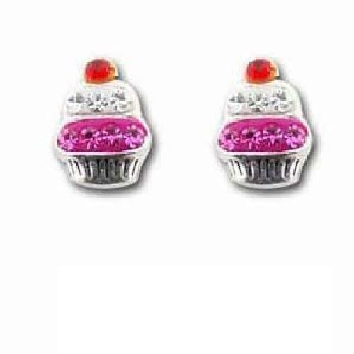 Royaume-UniThe Olivia Collection Argent  Funky Rose Cupcake Boucles D'Oreilles