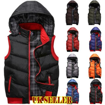 img-Winter Mens Womens Quilted Padded Vest Sleeveless Jacket Body Warmer Hoodie Coat
