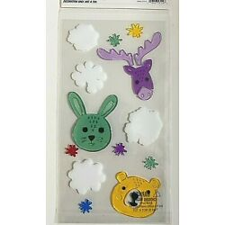 moose bunny and bear window gel cling classroom decor decoration snowflakes