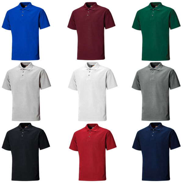 Royaume-UniDickies Polo Hommes Manches Courtes 3 Bouton Travail T-Shirt SH21220