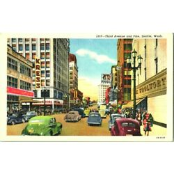 THIRD AVENUE SCENE & PIKE W/ OLD CARS KRESS STORES SEATTLE WASH POSTCARD