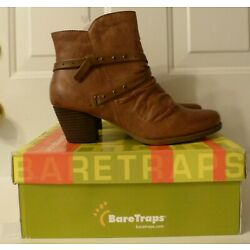 NIB Bare Traps Strappy Roma Brush Brown Stacked Heel Boots sz 9.5 M