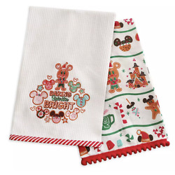 Kyпить Disney Parks Christmas Mickey & Minnie Gingerbread Holiday Dish Towel Set - NEW на еВаy.соm