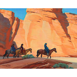 Kyпить Maynard Dixon Navajos In A Canyon Canvas Print 16 x 20   #7363 на еВаy.соm