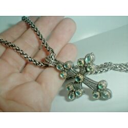 Kyпить KONSTANTINO @ NEIMAN MARCUS sterling silver CHAIN AND AQUAMARINE CROSS PENDANT на еВаy.соm