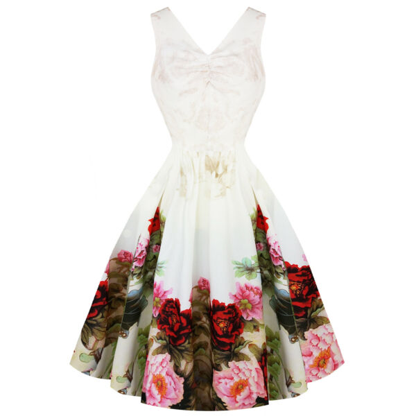 Royaume-UniHearts & Roses London Anglais Rose Blanc Floral  50s Rétro Robe Mariage