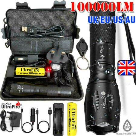 img-900000LM T6 LED Torch Tactical Military Zoomable Flashlight Headlamps Waterproof