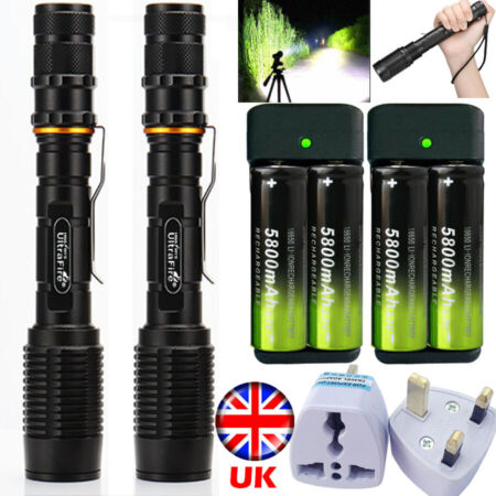 img-Aluminum Tactical Military 350000LM T6 LED 5Modes 18650 Flashlight Zoom Torches