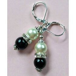 BLACK WHITE GLASS PEARL earring SP Leverback handcrafted
