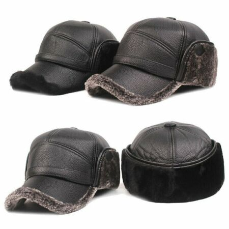 img-Hunting Men Father Winter Outdoor Pilot Ear Trapper Warm Flap Cap Leather Hat