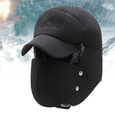 img-Winter Men Aviator Trapper Ski Hats Earflap Face Mask Cap Warm Cap 3 Color UK