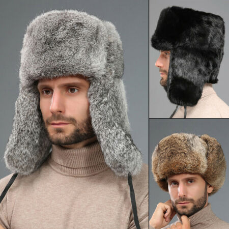 img-Men Real Genuine Rabbit Fur Hat Russia Trapper Earflap Winter Sking Cap Ushanka