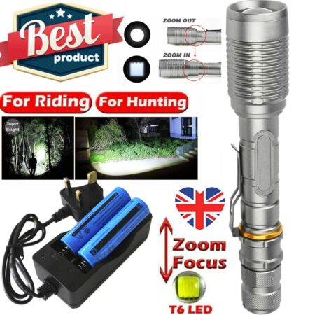 img-990000LM Super Bright Military Flashlight Zoomable T6 LED Torch+18650+Charger UK