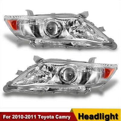 FOR 2010-2011 TOYOTA CAMRY CHROME HOUSING AMBER CORNER PROJECTOR HEADLIGHTS/LAMP