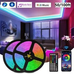 Kyпить 100ft 50ft LED Strip Lights 5050 RGB Bluetooth Color Change Remote for Rooms Bar на еВаy.соm