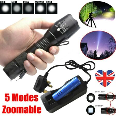 img-Super Bright 990000LM Zoom Police Military Flashlight T6 LED Torch+Battery+Char