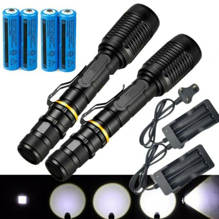 img-2Pc 990000LM Rechargeable Military Zoom Flashlight Powerful T6 LED Torch Light