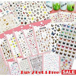 Nail Stickers Art Decal DIY Design Waterproof 3D Butterfly Heart Letters Gold US