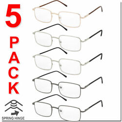 Reading Glasses Mens Womens Square Spring Hinge Unisex 5 Pack New Style Look