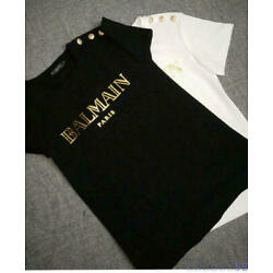 Kyпить NWT Women's Bal main Tops Gold Letters Print with LionButtons Casual T-Shirt на еВаy.соm