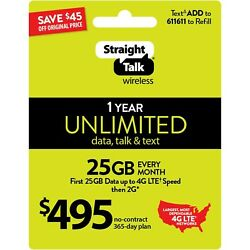 Kyпить STRAIGHT TALK 12 MONTHS $495 UNLIMITED TALK / TEXT 25GB 4G LTE на еВаy.соm