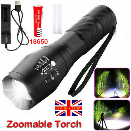 img-T6 LED Torch Rechargeable Flashlight Police Tactical Zoom Camping Lamp 18650