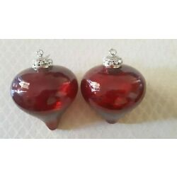 Kyпить Heavy Crackle Glass Ruby Red Christmas Ornament 6