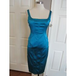 NWT David Meister Women's Turquoise Sleeveless Stretch Lined Dress Size 2 $390