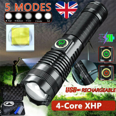 img-Rechargeable 990000LM 5Modes Military LED Flashlight Powerful USB Torch Light UK