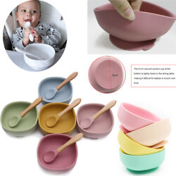Kyпить Baby Bowls Suction + Bamboo Spoon Set Food Silicone Feeding Set US на еВаy.соm