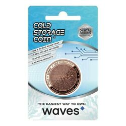 WAVES Cold Storage Coin Crypto Wallet 1 Ounce .999 Fine Copper