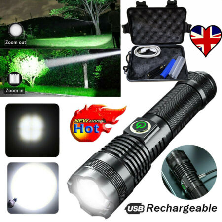 img-Portable Military 990000LM LED Flashlight Light USB Rechargeable Torch Lamp+ Box