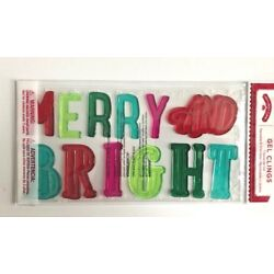 Merry and Bright Holiday Winter Christmas Window Gel Sticker Cling  Decor
