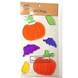 Fall Autumn pumpkins and leaves window Gel Stickers Clings classroom  Decor