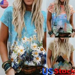 Summer Women Floral Printed Tops Loose Crew Neck T Shirt Boho Daisy Tee Blouse