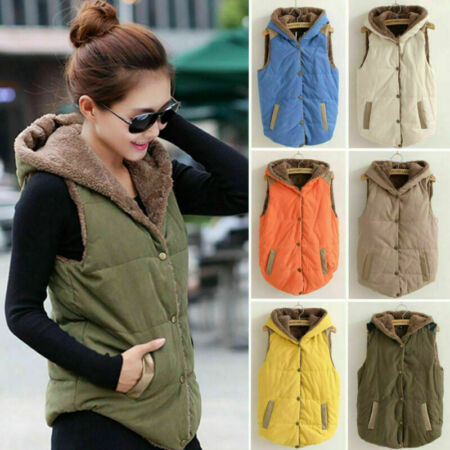 img-Womens Winter Vest Sleeveless Hooded Quilted Gilet Body Warmer Button Waistcoat+