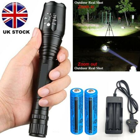 img-Powerful 990000LM LED Flashlight Focus Hiking Military Torch 18650Batt+Charger