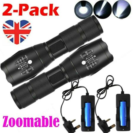 img-2x 990000LM Upgraded LED Zoom Torch Waterproof Military Flashlight+Batt+Charger