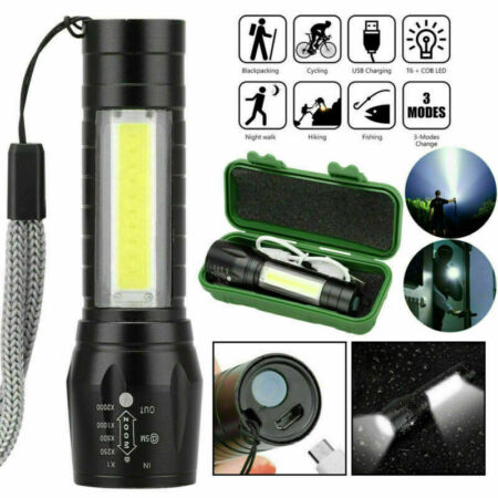 img-USB Rechargeable COB LED Torch Flashlight Police Zoom Tactical Military Light