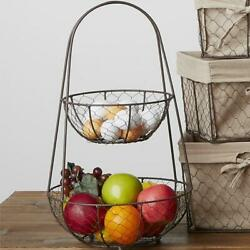 Rustic Country Primitive Farmhouse Chicken Wire Tier Stand Fruit Basket